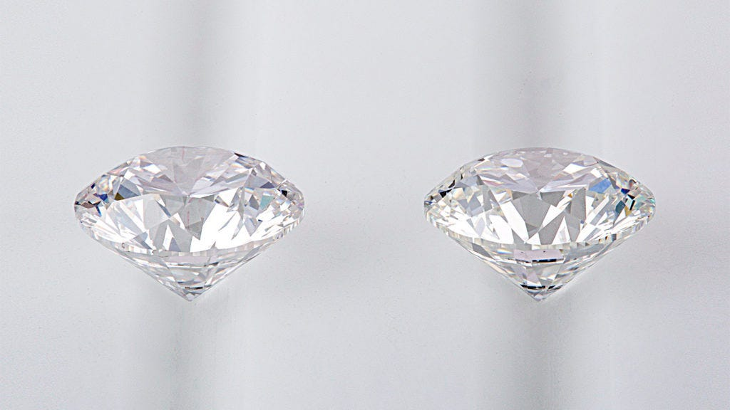 the side view of a mined diamond next to a lab grown diamond