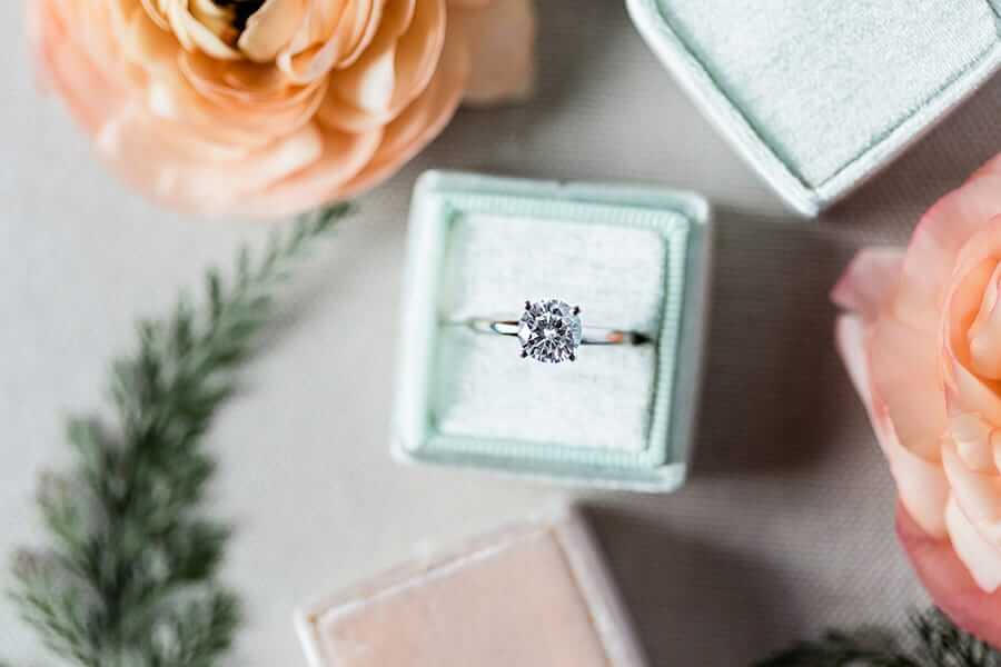simple engagement ring in blue box