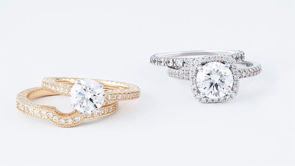 white and yellow gold engagement rings