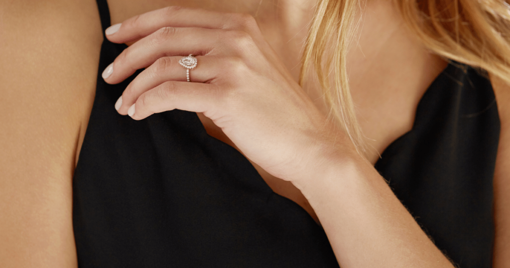 Pear Shaped Halo featuring Lab-Grown Diamonds.