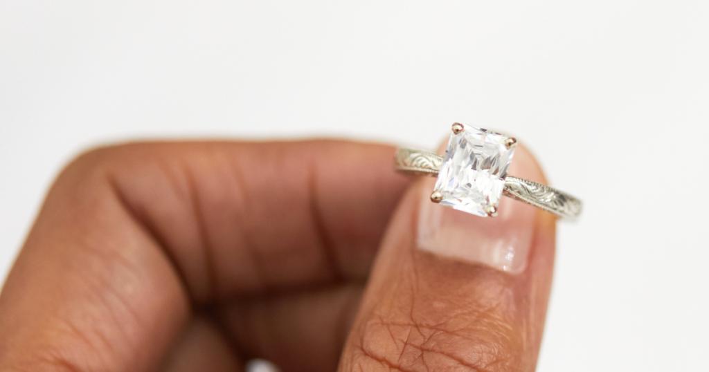 stunning lab-grown diamond engagement ring.