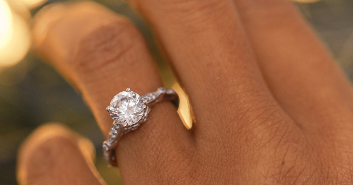 Classic engagement ring on hand