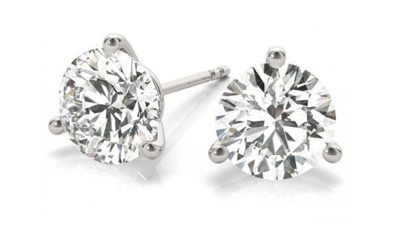 14K White Gold Three Prong Martini Diamond Stud Earrings