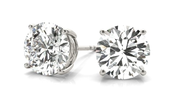 14K White Gold Four Prong Round Diamond Stud Earrings