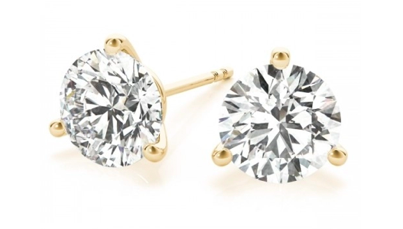 14K Yellow Gold Three Prong Martini Diamond Stud Earrings