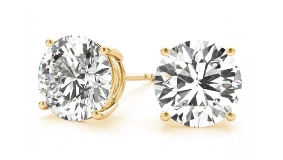 14K Yellow Gold Four Prong Round Diamond Stud Earrings