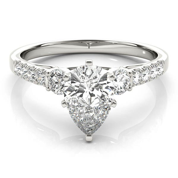 art deco ring with pear-shaped diamond