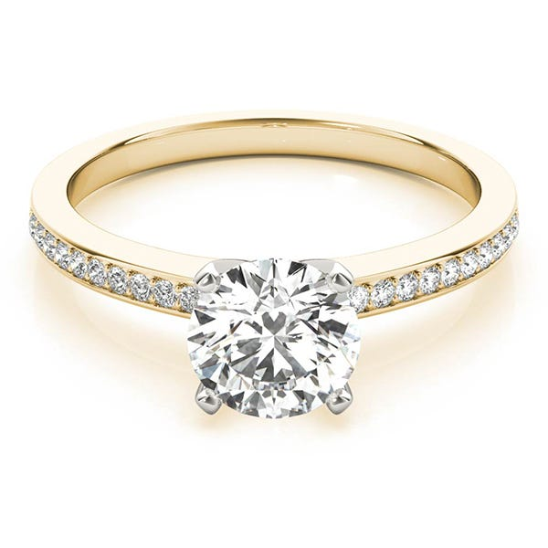 yellow gold classic engagement ring with round diamond