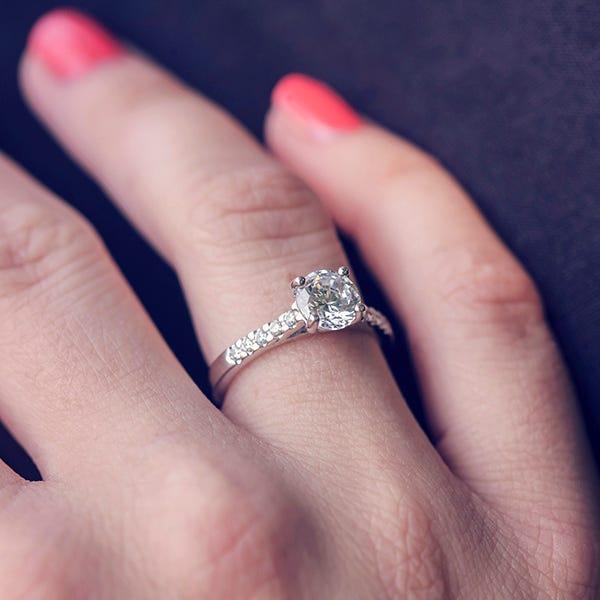 cubic zirconia ring on finger