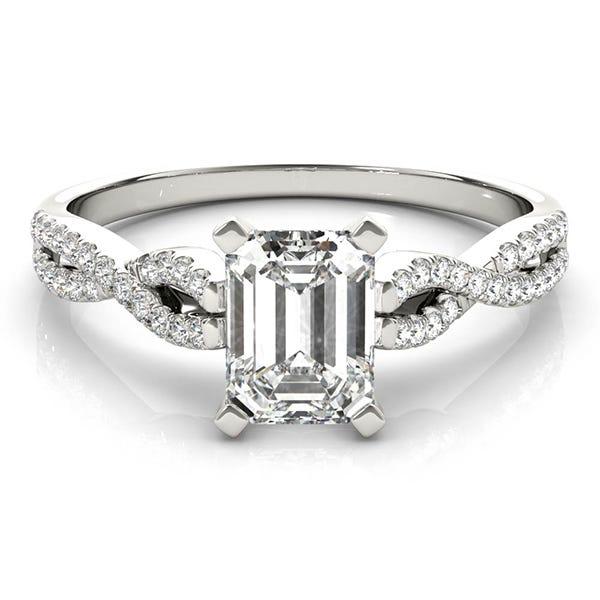 emerald man made diamond engagement ring