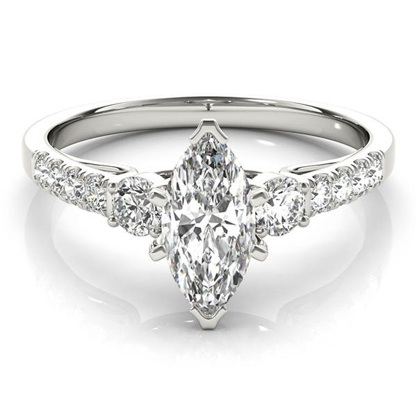 white gold marquise shaped diamond ring