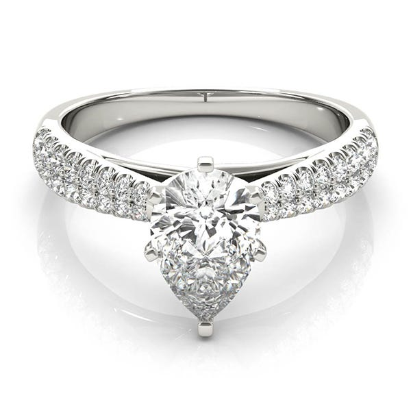 white gold pear shaped engagement ring