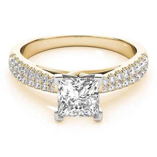 yellow gold princess shaped engagement ring