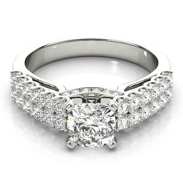 white gold cushion shaped diamond ring