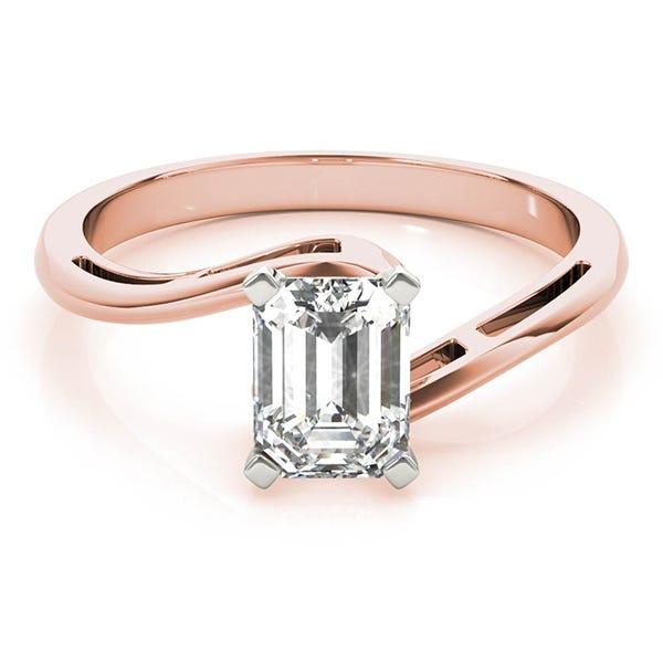 rose gold emerald lab made diamond ring