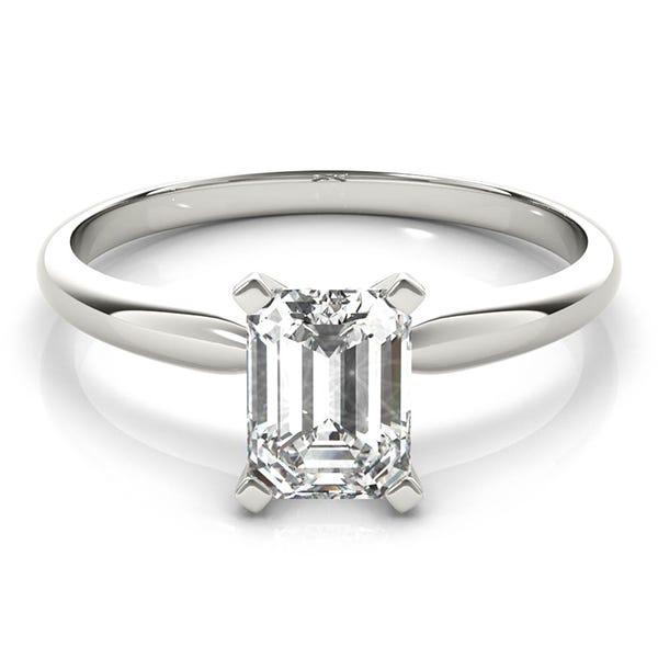 white gold emerald lab grown diamond engagement ring