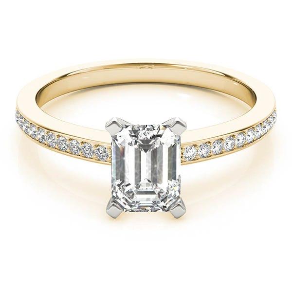 yellow gold emerald lab grown diamond ring