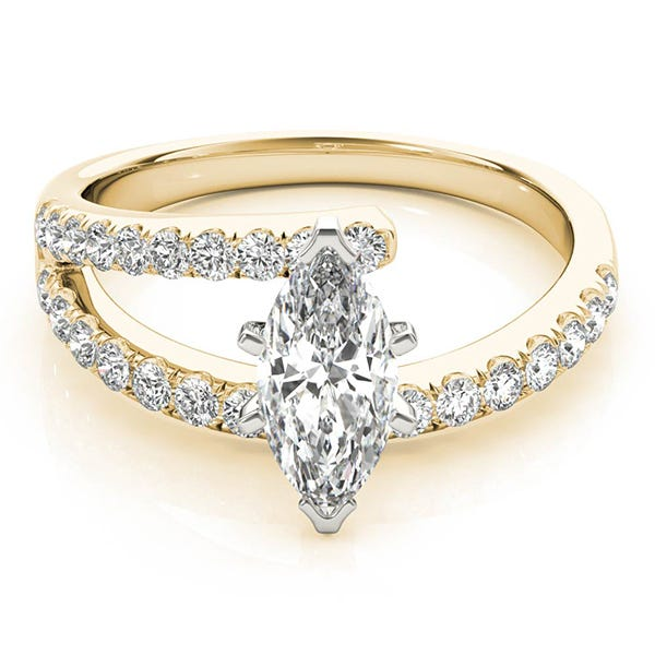 yellow gold marquise shaped diamond ring