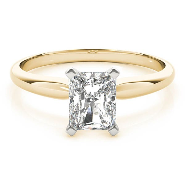 yellow gold radiant solitaire engagement ring