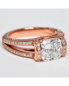 custom cushion shape lab grown diamond ring 14k rose gold, free exp shipping size 6.25 or request resize quote