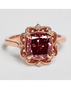 Rose gold fancy red lab created diamond ring 3.14 TC custom one of a kind size 6.75 ships fast or request free resizing