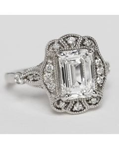 custom white gold lab created diamond ring vintage style - ships in size 6.5 or get complementary resizing