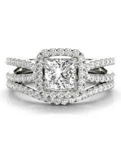 Square Halo with Split Band Bridal Set