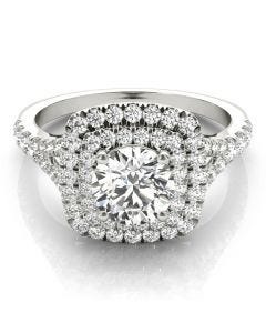 Petite French Double Halo Ring
