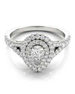 Double Pear Halo Ring