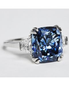 Dark blue lab created diamond size 6.75 ships expedited immediately, free resizing courtesy of Clean Origin with purchase