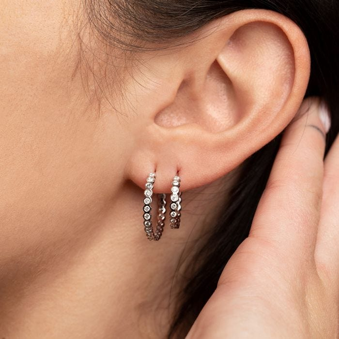 Lux 20MM Hoops 14kt White Gold on Model