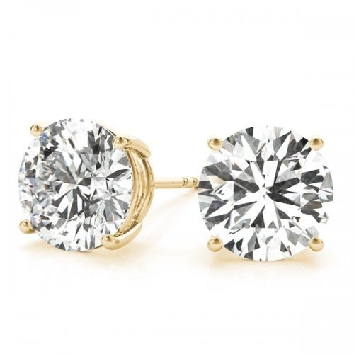 14K Yellow Gold Round Studs